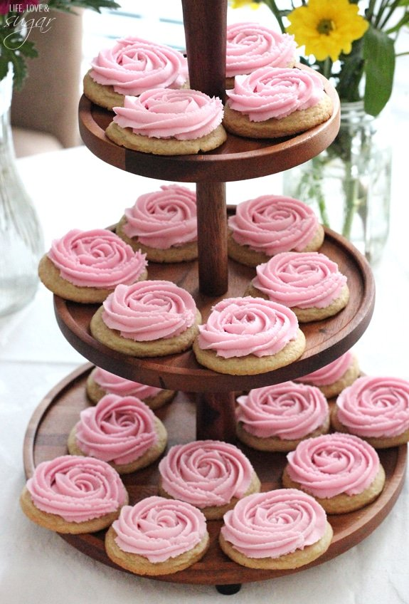 Rosette Sugar Cookies on 3 tiered wooden tray