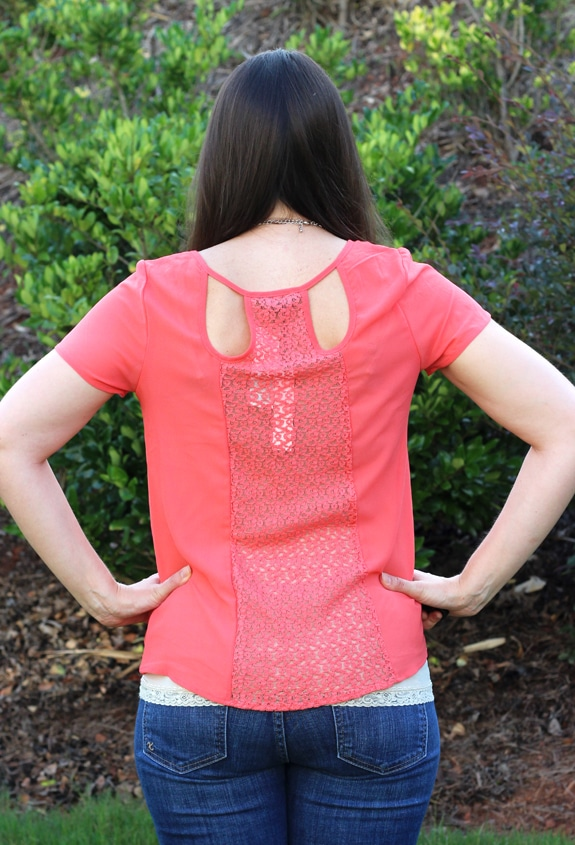 The Back of a Bright Coral Top From My Stitch Fix Box