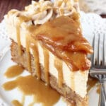 Caramel Apple Blondie Cheesecake on white plate