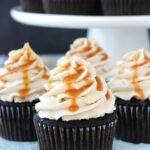 Kahlua Chocolate Cupcakes with Salted Caramel close up