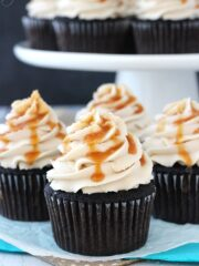 Kahlua Chocolate Cupcakes with Salted Caramel close up 2