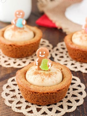 Gingerbread Cheesecake Cookie Cups closeup