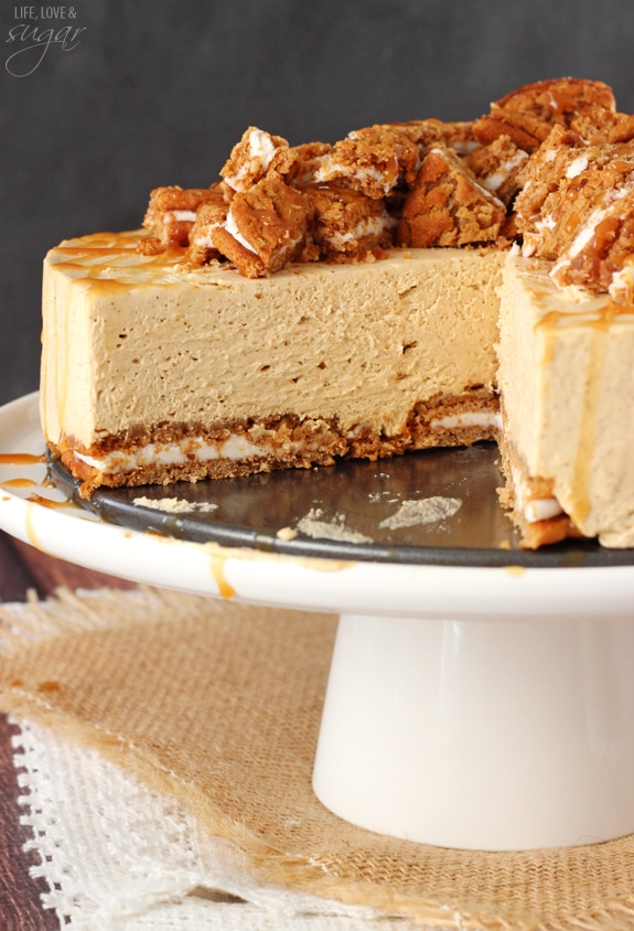 ... as the crust with a spiced no bake cheesecake and caramel drizzle