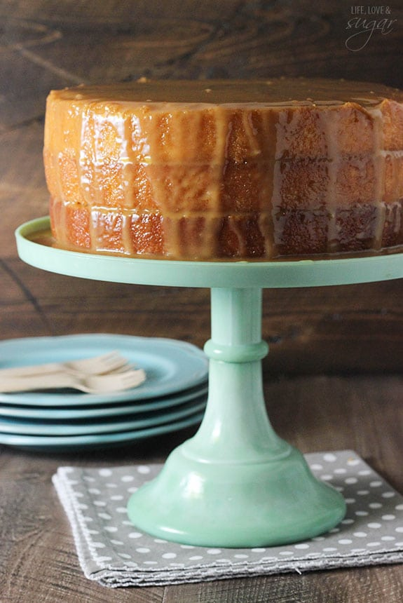 Real Deal Caramel Cake - super moist cake covered in caramel sauce! A classic recipe from the Grandbaby Cakes cookbook!