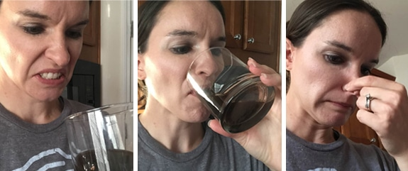 A Collage of Three Images of Lindsay Drinking the Liquid From the Packets