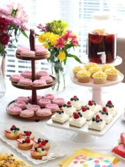 End of Summer Party featuring fruit filled and flower themed desserts!