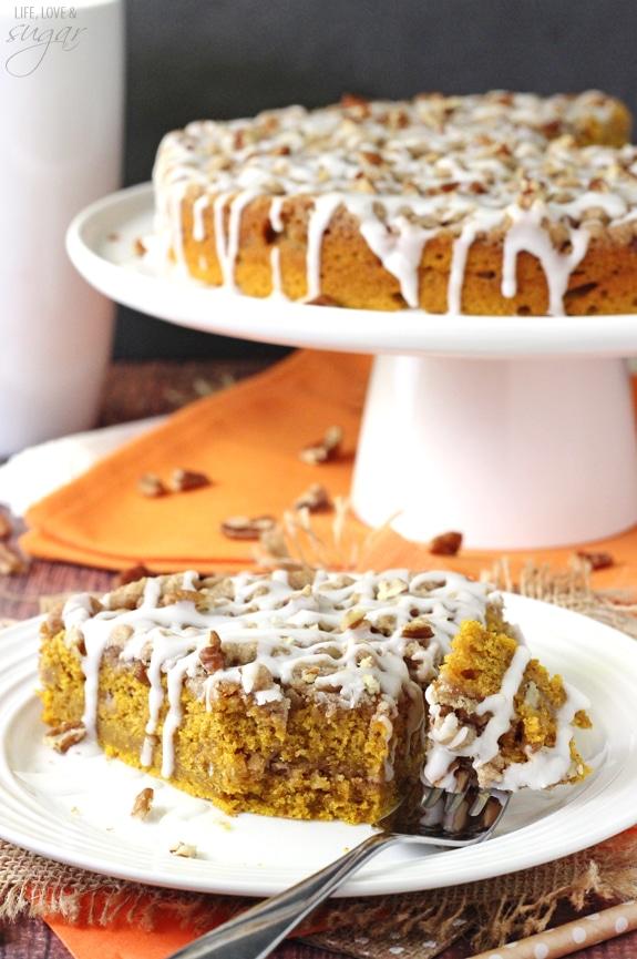 Cinnamon Streusel Pumpkin Coffee Cake - Life Love and Sugar