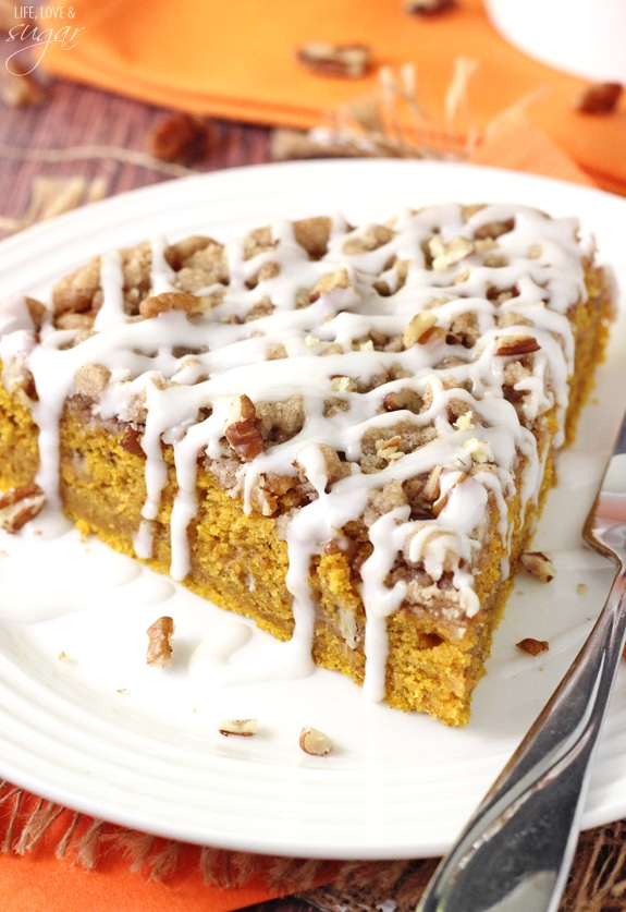 closeup of a slice of Cinnamon Streusel Pumpkin Coffee Cake