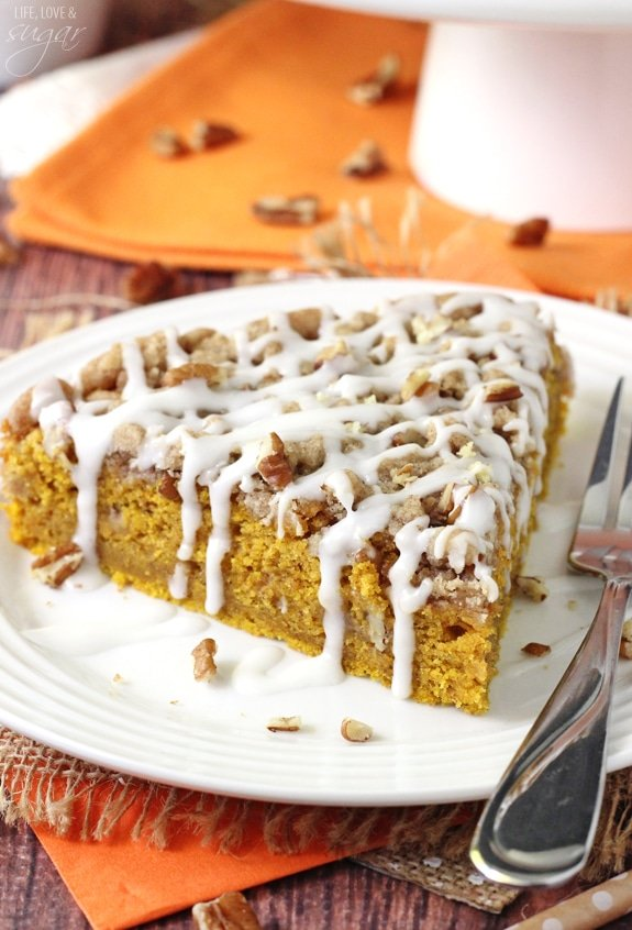 close up of Cinnamon Streusel Pumpkin Coffee Cake on white plate
