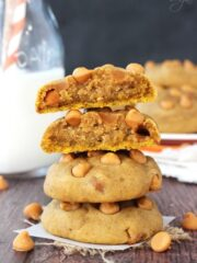 Pumpkin Butterscotch Chip Cookies - moist, chewy, dense pumpkin cookies filled with butterscotch chips! Not at all cakey!