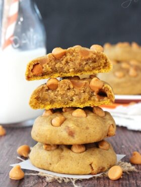 Pumpkin Butterscotch Chip Cookies stacked with top cookie halved