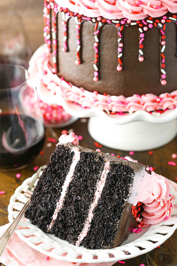 Red Wine Chocolate Cake - super moist, full of red wine, with a raspberry filling and fun sprinkle drip!