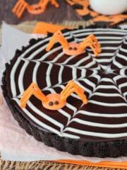 Spider Web Chocolate Tart close up