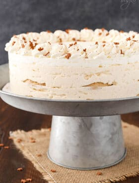 No Bake Eggnog Icebox Cake on silver stand
