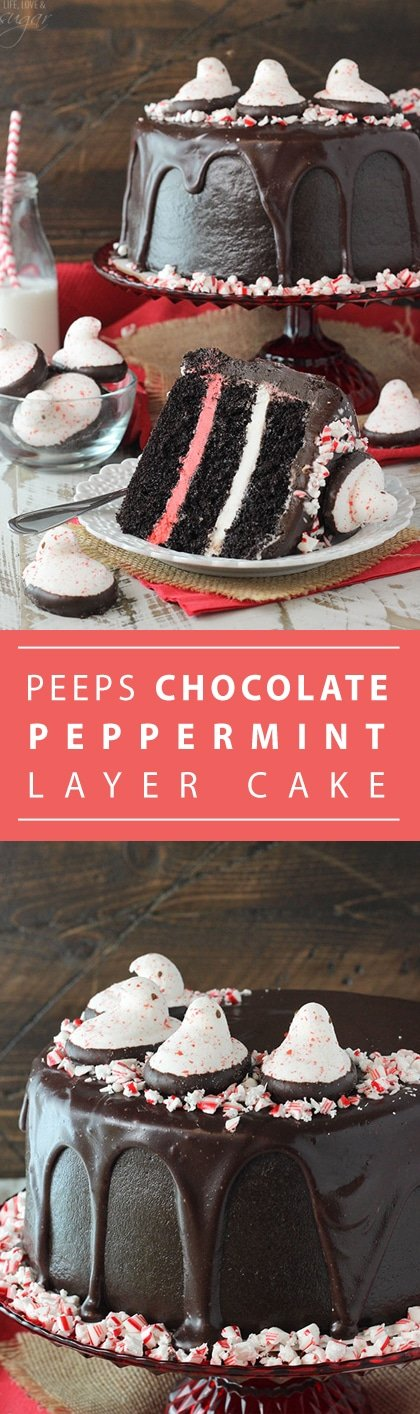 PEEPS® Peppermint Chocolate Cake - a super moist chocolate cake with peppermint filling and chocolate icing! Topped with Chocolate Dipped Candy Cane Flavored Chicks! Such a fun dessert for Christmas!