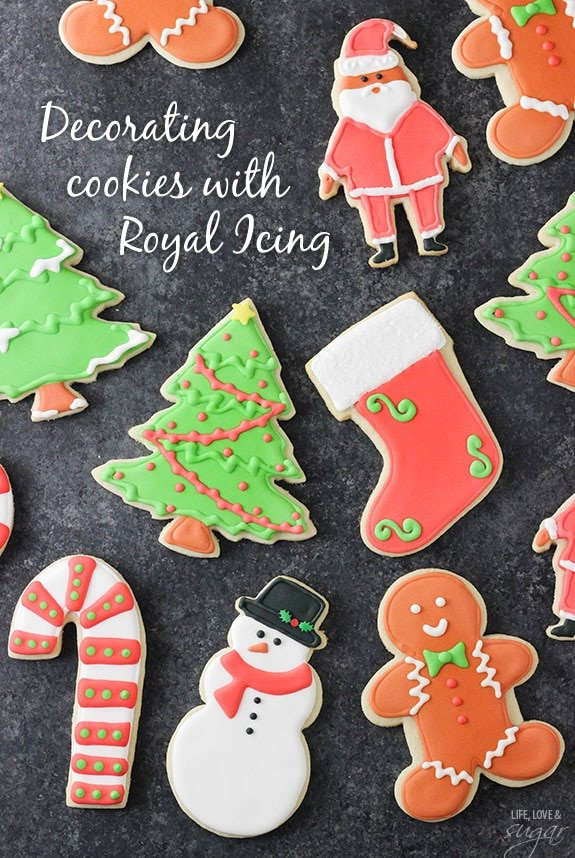 How to decorate cutout sugar cookies with royal icing! Includes recipes, detailed instructions and a video!