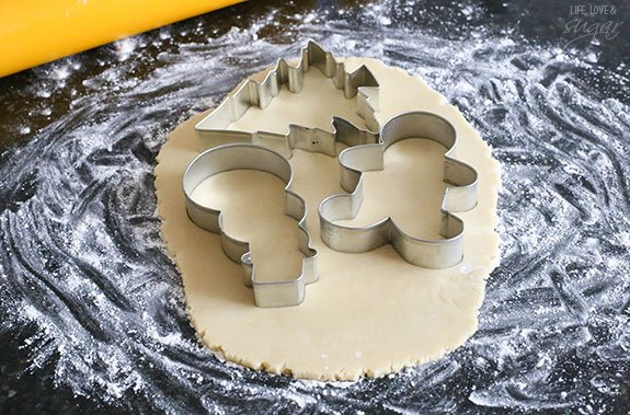 Cookie cutters on rolled out dough