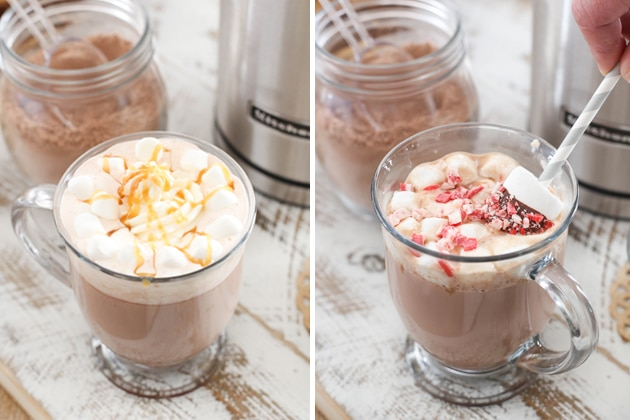 two image - hot chocolate with caramel sauce and marshmallows and one with peppermint pieces and marshmallows