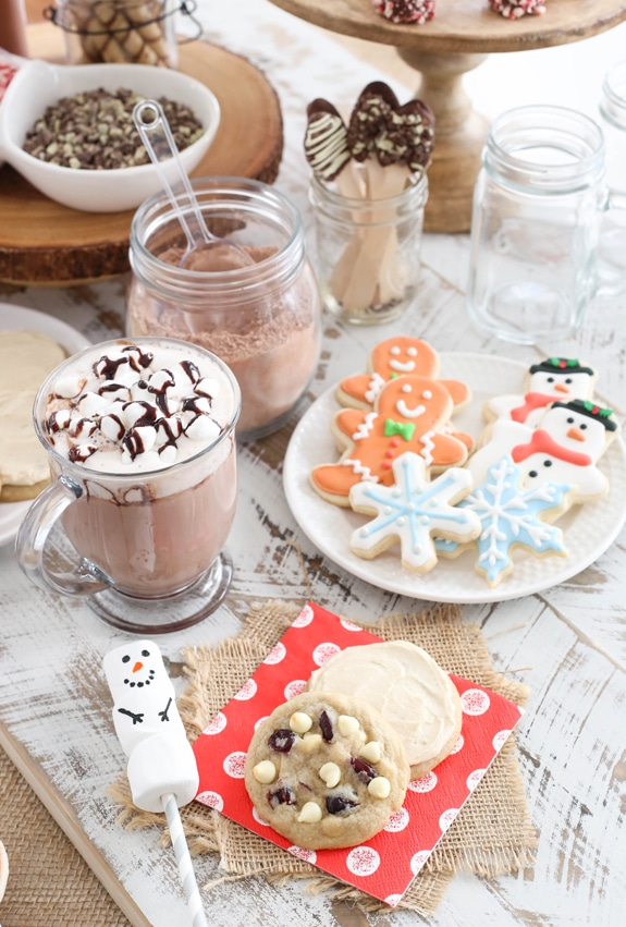 Hot Chocolate Bar & Cookie Exchange table