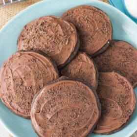 Grandfather's Favorite Chocolate Cookies on blue plate close up