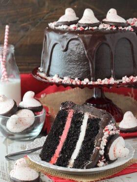 Peeps Chocolate Peppermint Cake slice on white plate