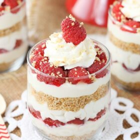 close up image of Raspberry Amaretto Cheesecake Trifle