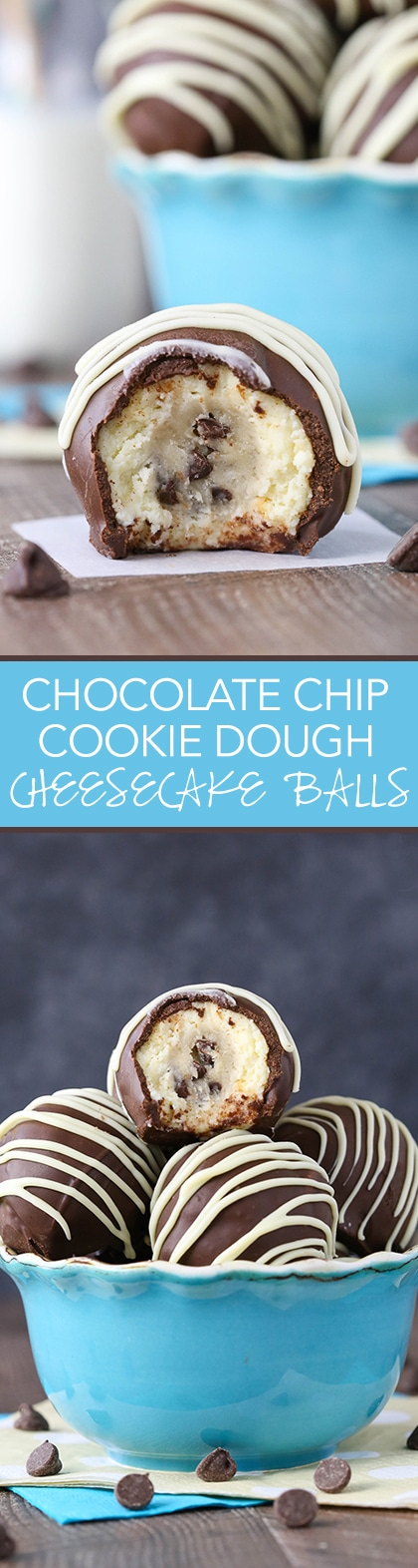 Chocolate Chip Cookie Dough Cheesecake Balls - eggless cookie dough surrounded by vanilla cheesecake! All dipped in chocolate! So good!