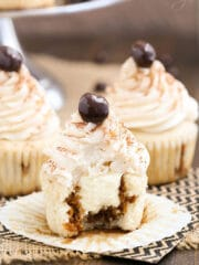 Tiramisu Cupcakes with bite missing