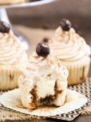 Tiramisu Cupcakes with bite missing