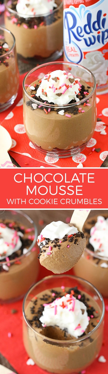 Chocolate Mousse with Cookie Crumbs - easy to make and perfect for sharing for Valentines Day! Share the joy with Reddi Whip!