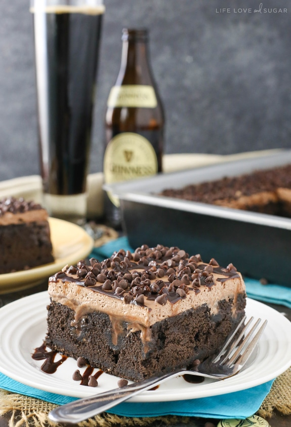 Guinness Chocolate Poke Cake for St. Patrick's Day!