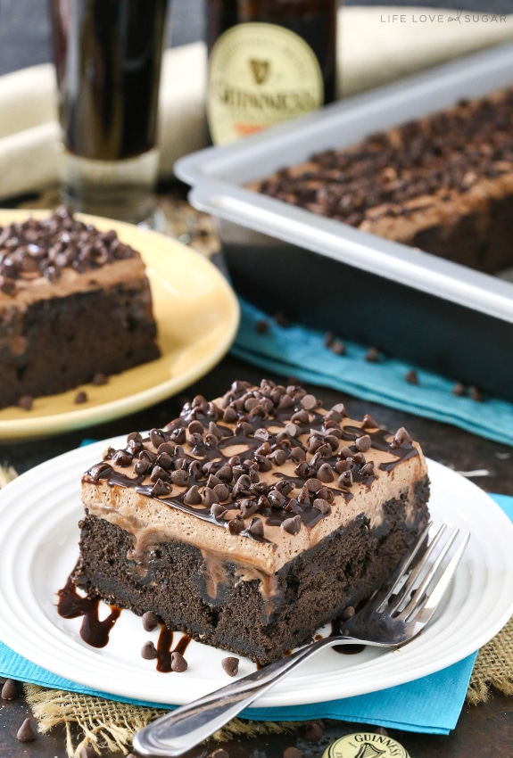 Guinness Chocolate Poke Cake