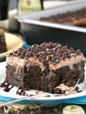 image of Guinness Chocolate Poke Cake with bite taken out
