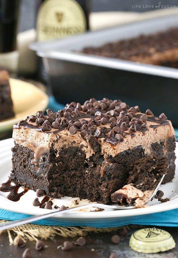 Guinness Chocolate Poke Cake serving on plate