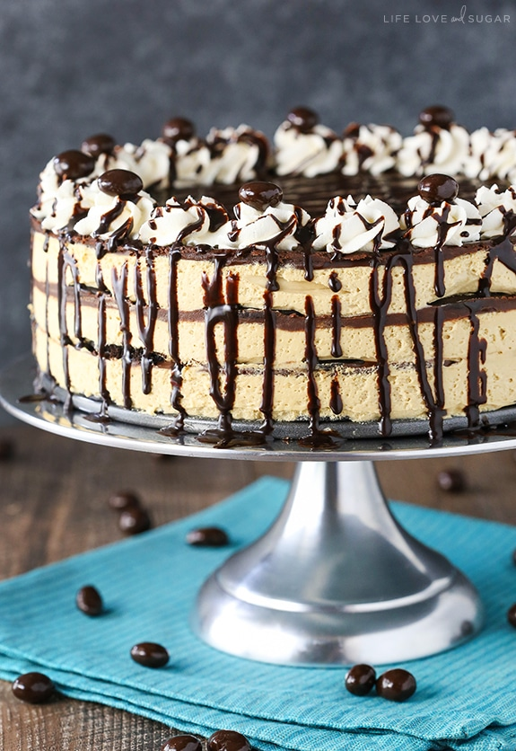 Mocha Chocolate Icebox Cake - layers of mocha filling, chocolate wafer cookies and chocolate ganache! Such an easy no-bake dessert!