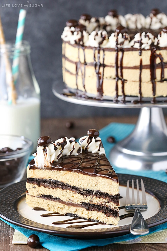 Mocha Chocolate Icebox Cake slice on plate