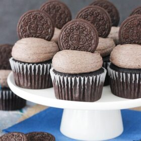 image of Oreo Chocolate Cupcakes on cake stand