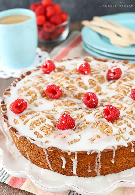 full Raspberry Cream Cheese Coffee Cake on white platter