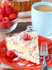 Raspberry Cream Cheese Coffee Cake on plate