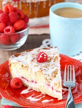 Raspberry Cream Cheese Coffee Cake on plate