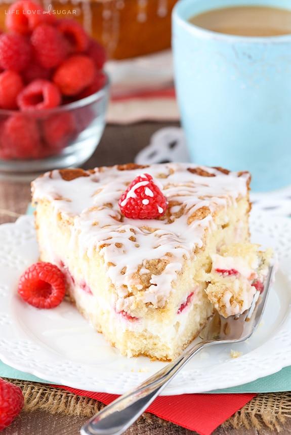 slice Raspberry Cream Cheese Coffee Cake with a bite taken