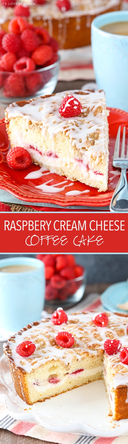 Pinterest collage image for Raspberry Cream Cheese Coffee Cake - a slice of cake and the full cake