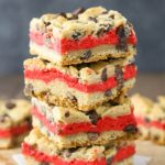 Red Velvet Cheesecake Chocolate Chip Cookie Bars