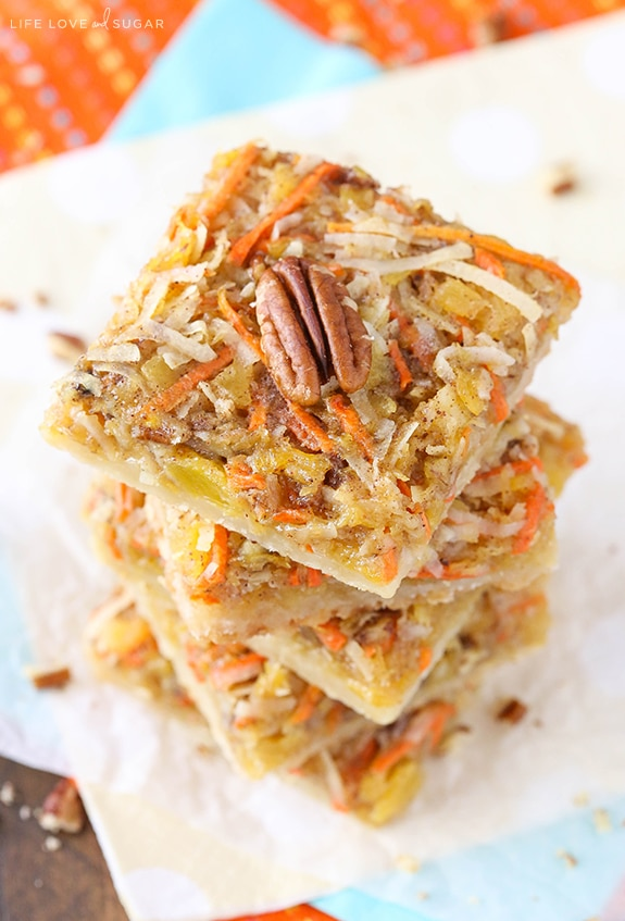 Carrot Cake Shortbread Bars - all the great flavor of carrot cake in these easy and delicious bars! Perfect dessert recipe for Easter!