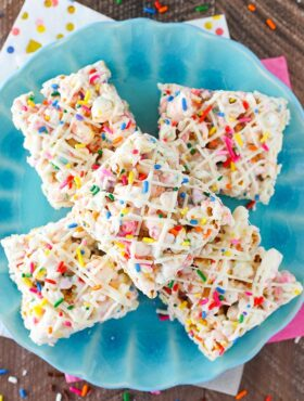 overhead image of Funfetti Marshmallow Popcorn Treats