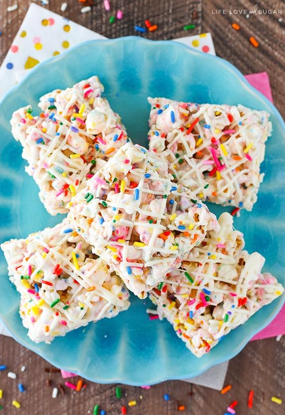No Bake Funfetti Marshmallow Popcorn Treats