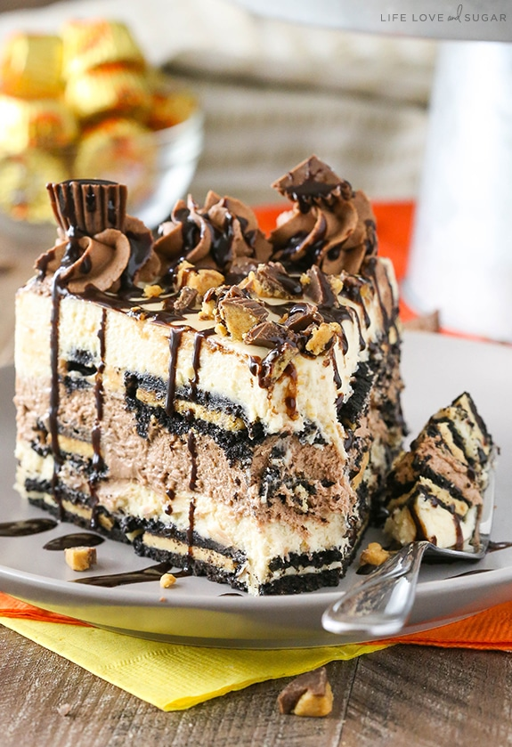Bite of Reeses Peanut Butter Chocolate Icebox Cake on fork