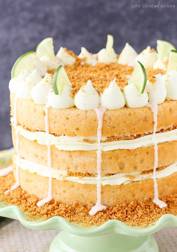 Key Lime Pie Layer Cake on green stand