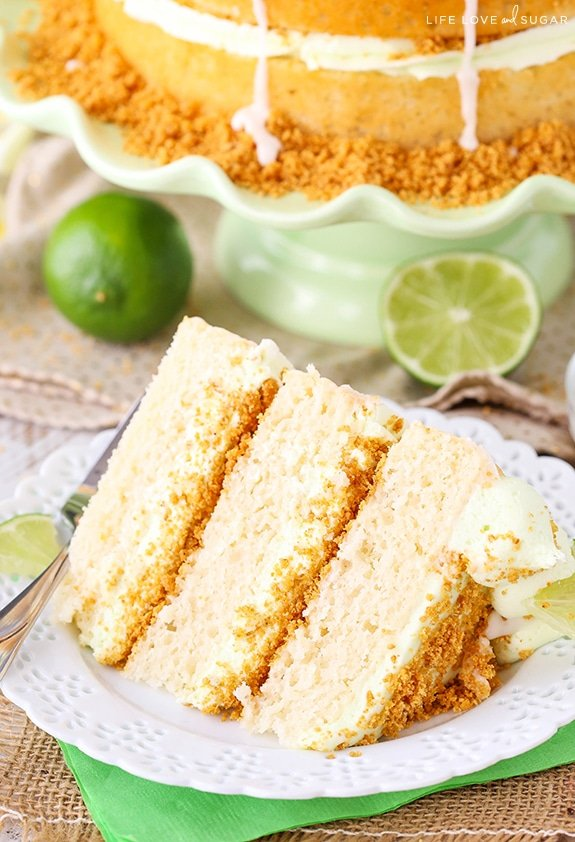 Slice of Key Lime Pie Layer Cake