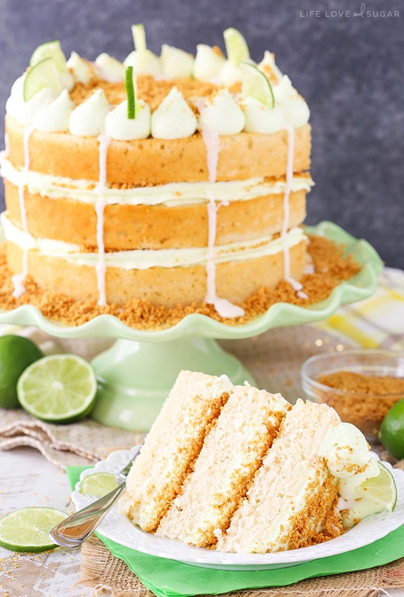 Key Lime Pie Layer Cake - key lime cake and frosting with graham cracker crust between the layers! SO good!